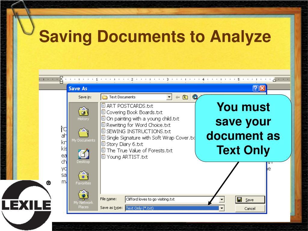 Saving Documents to Analyze