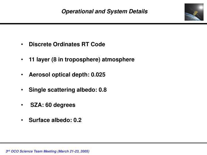 Operational and system details
