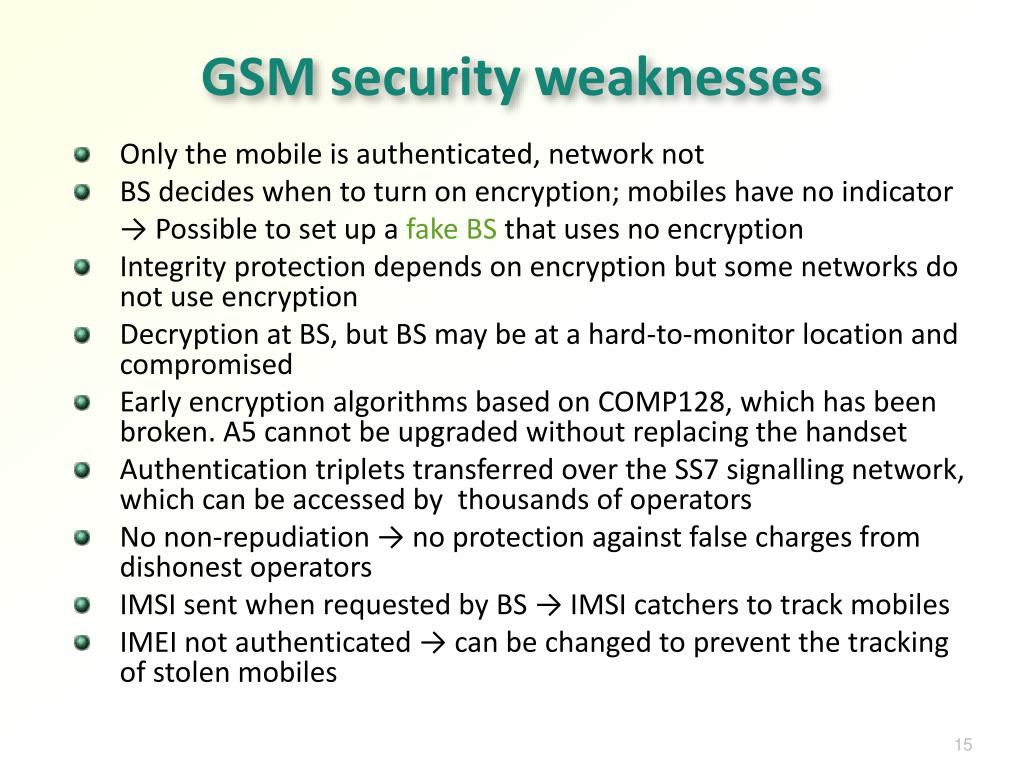 GSM security weaknesses