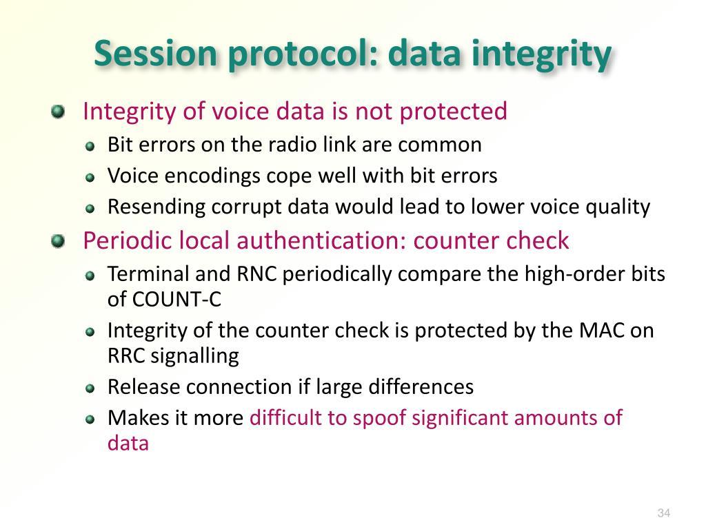 Session protocol: data integrity