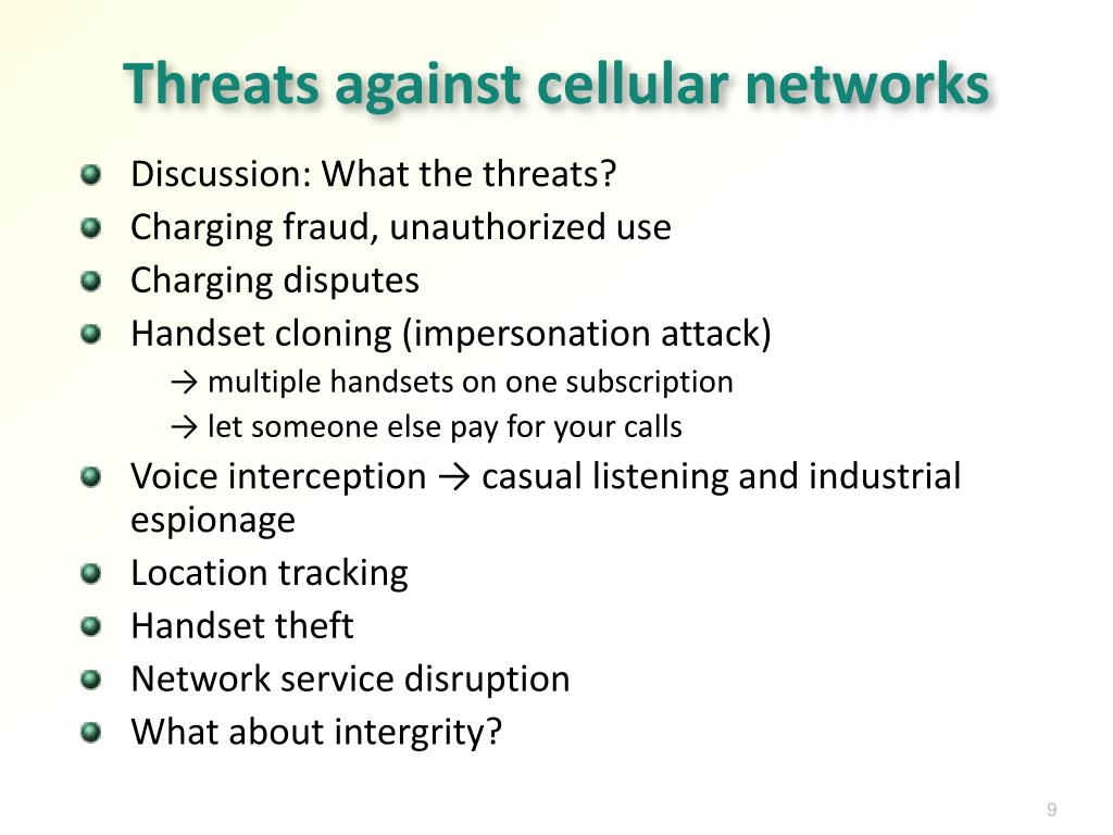 Threats against cellular networks