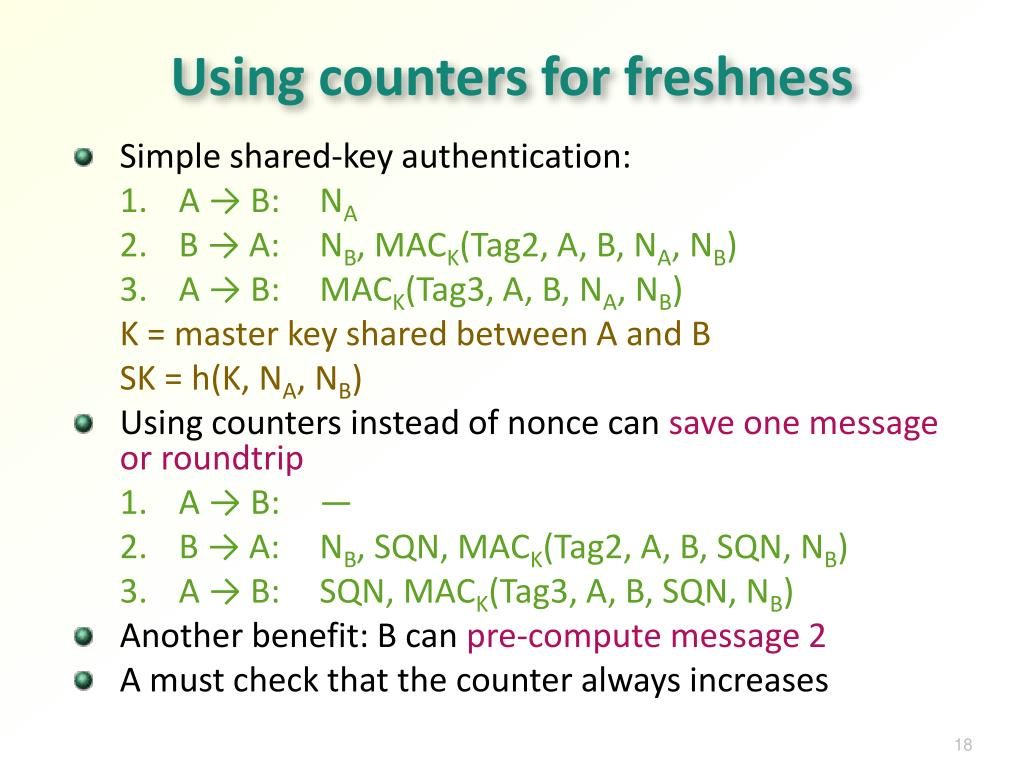 Using counters for freshness