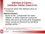 definitions of cultures hochkultur goethe duerer co