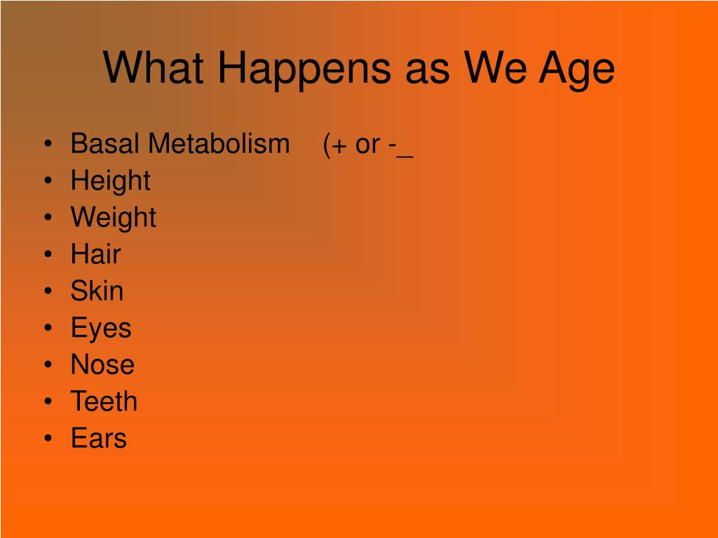 What Happens as We Age