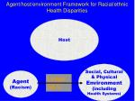 agent host environment framework for racial ethnic health disparities