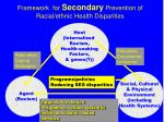 framework for secondary prevention of racial ethnic health disparities
