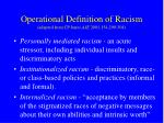 operational definition of racism adapted from cp jones aje 2001 154 299 304