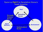 racism as agent for racial ethnic women s health disparities