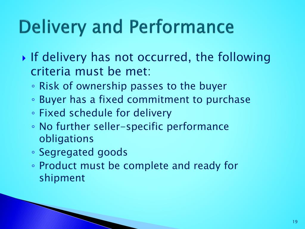 Delivery and Performance