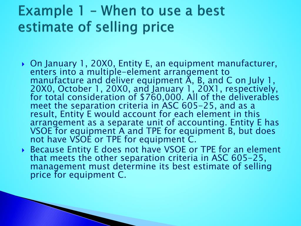 Example 1 – When to use a best estimate of selling price