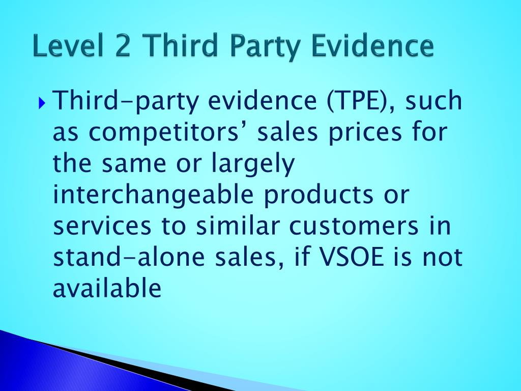Level 2 Third Party Evidence