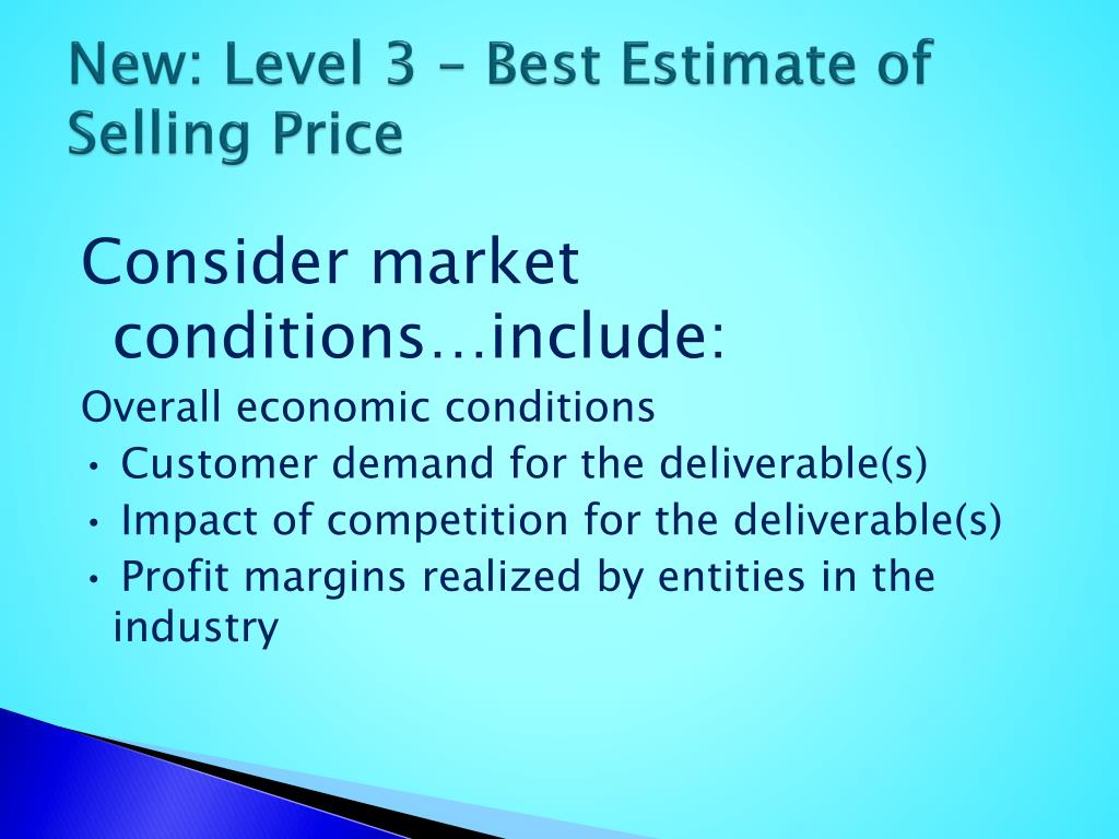 New: Level 3 – Best Estimate of Selling Price