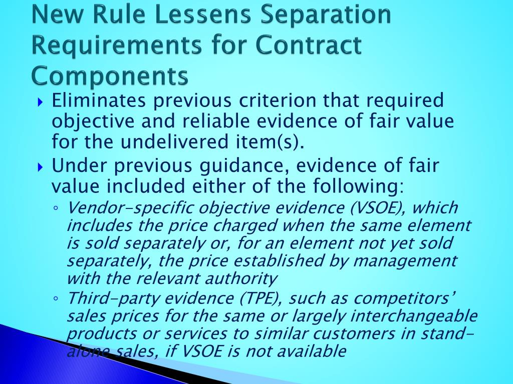 New Rule Lessens Separation Requirements for Contract Components