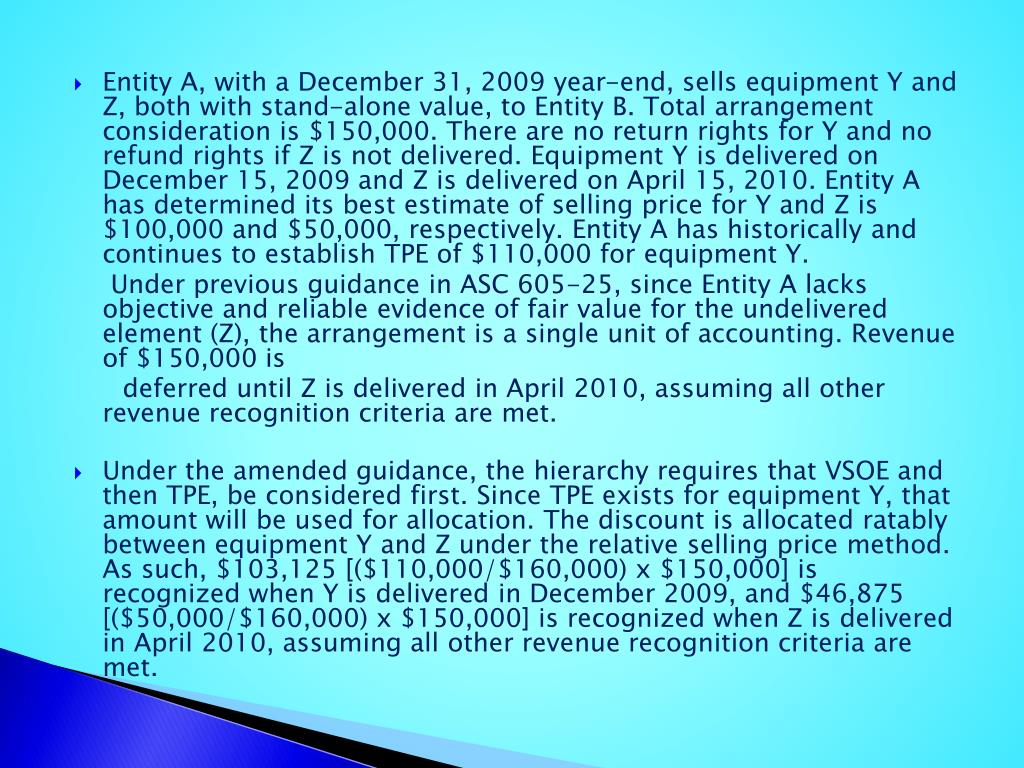 Entity A, with a December 31, 2009 year-end, sells equipment Y and Z, both with stand-alone value, to Entity B. Total arrangement consideration is $150,000. There are no return rights for Y and no refund rights if Z is not delivered. Equipment Y is delivered on December 15, 2009 and Z is delivered on April 15, 2010. Entity A has determined its best estimate of selling price for Y and Z is $100,000 and $50,000, respectively. Entity A has historically and continues to establish TPE of $110,000 for equipment Y.