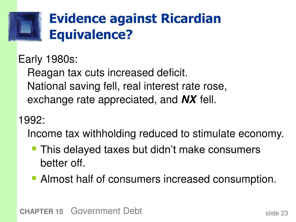 Evidence against Ricardian Equivalence?
