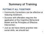 summary of training