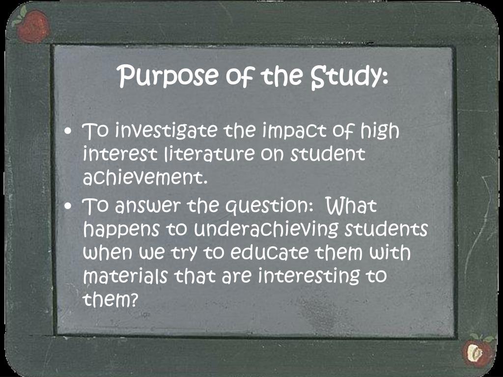 Purpose of the Study: