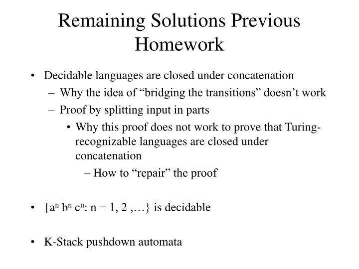 remaining solutions previous homework n.
