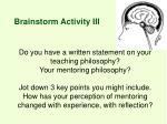 brainstorm activity iii