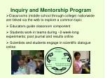 inquiry and mentorship program
