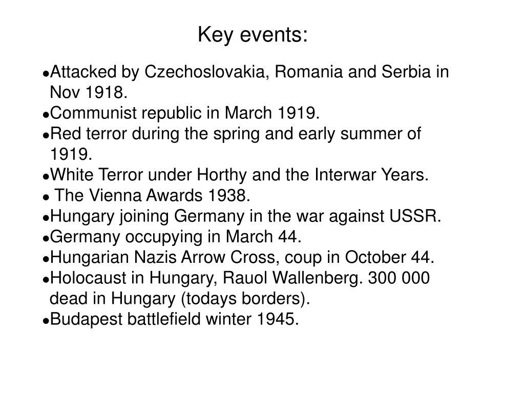 Key events: