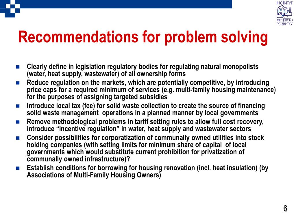 Recommendations for problem solving