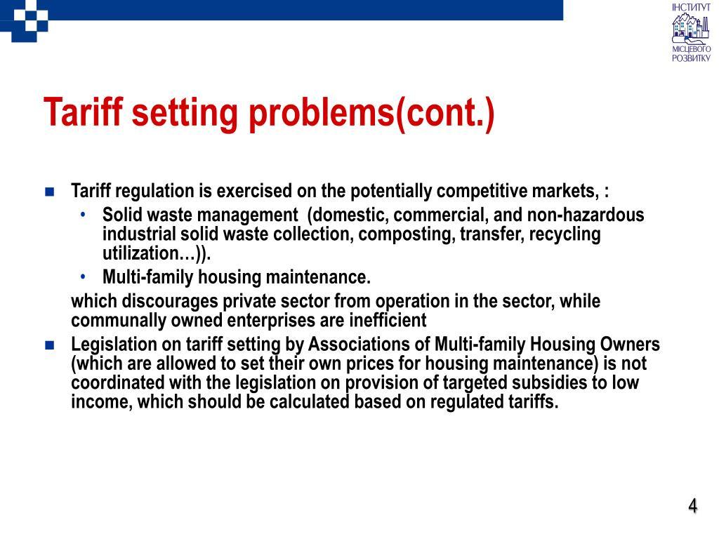 Tariff setting problems