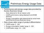 preliminary energy usage data
