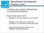 specification development process cont29
