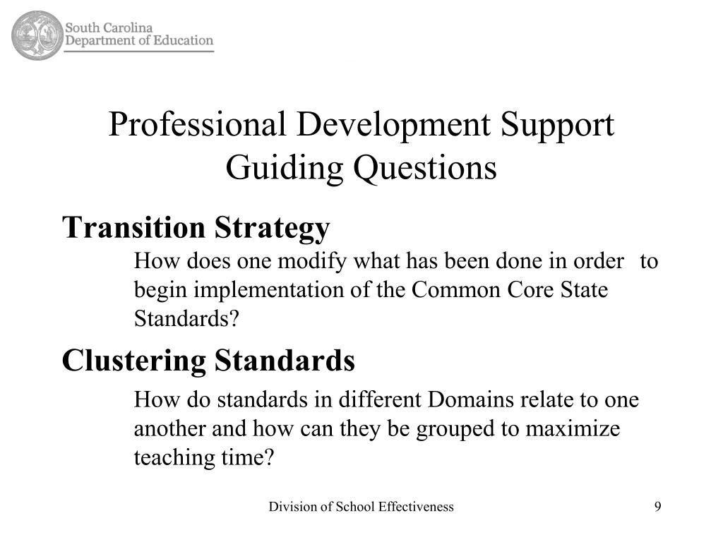 Professional Development Support Guiding Questions