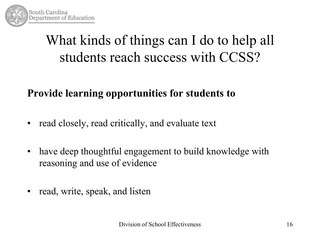 What kinds of things can I do to help all students reach success with CCSS?