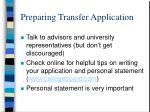 preparing transfer application