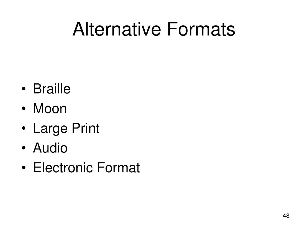 Alternative Formats