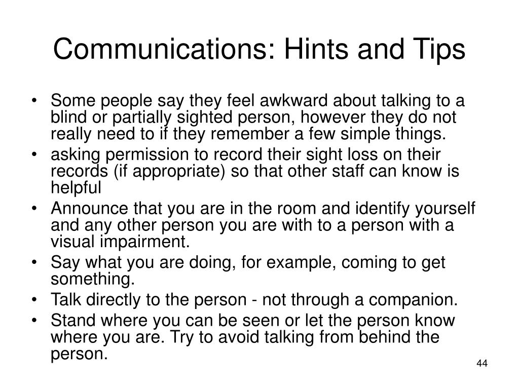 Communications: Hints and Tips