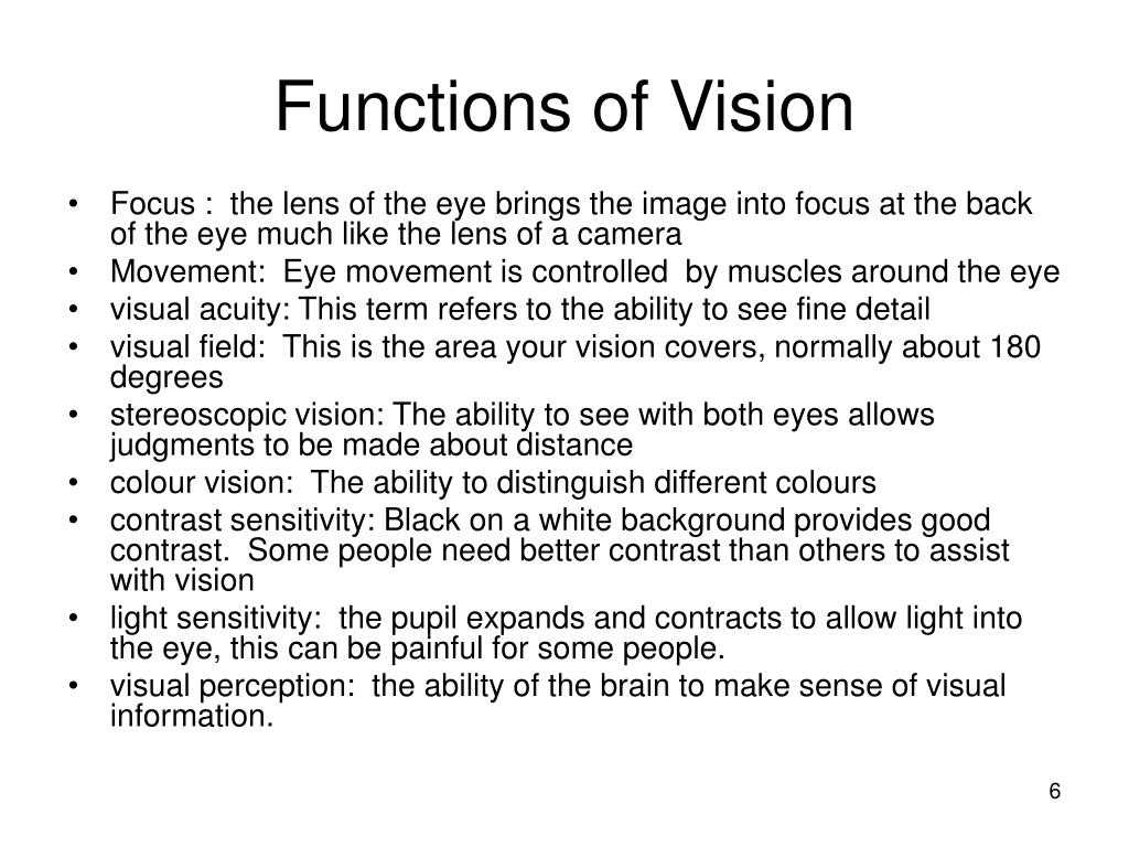 Functions of Vision