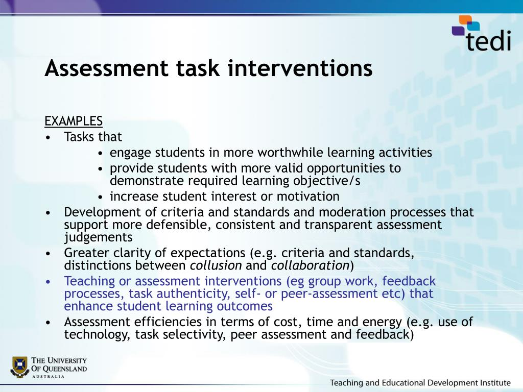 Assessment task interventions