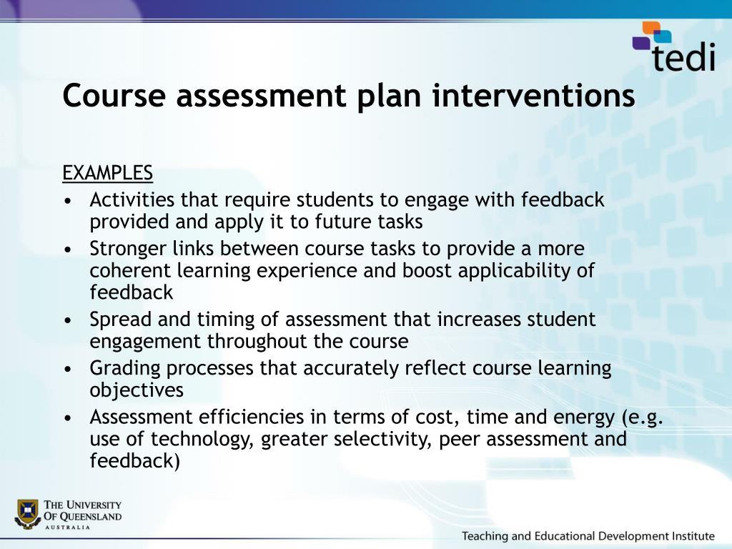 Course assessment plan interventions