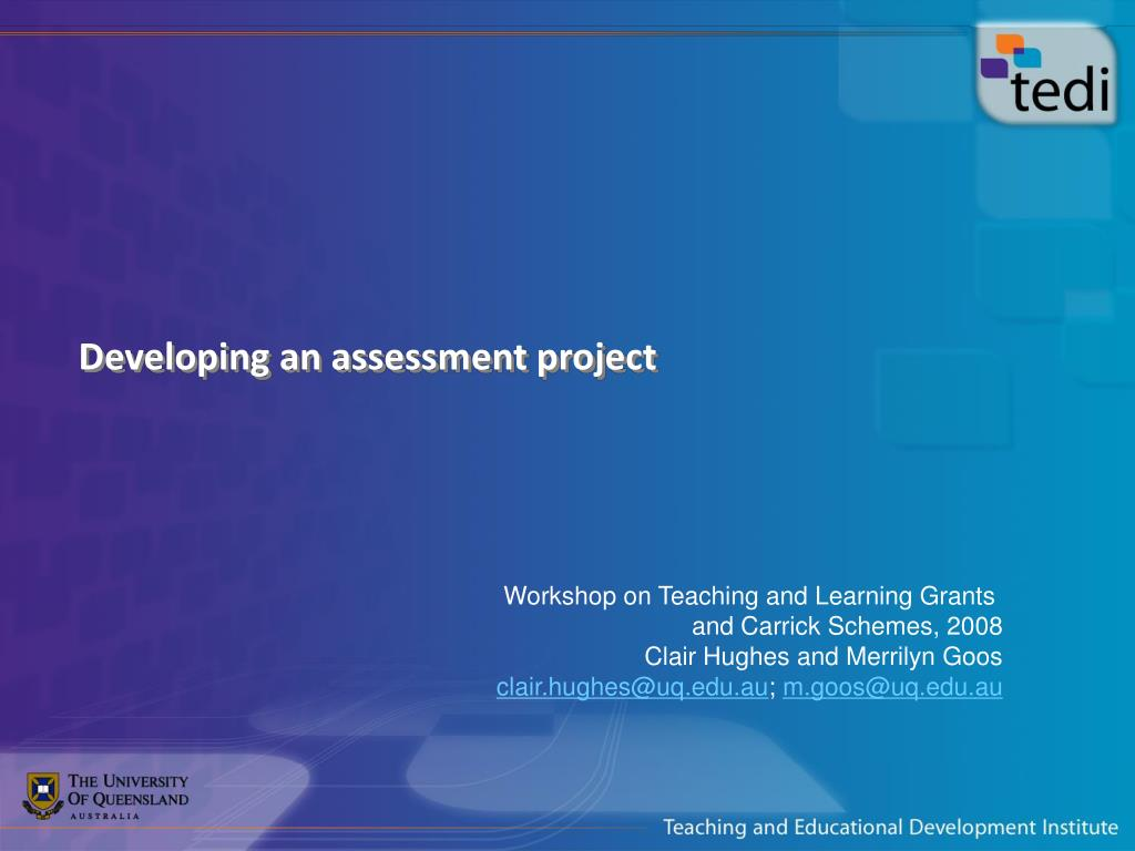 Developing an assessment project