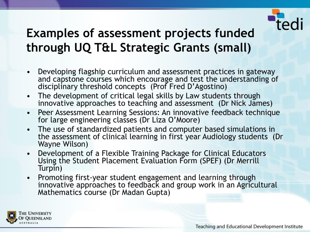 Examples of assessment projects funded through UQ T&L Strategic Grants (small)