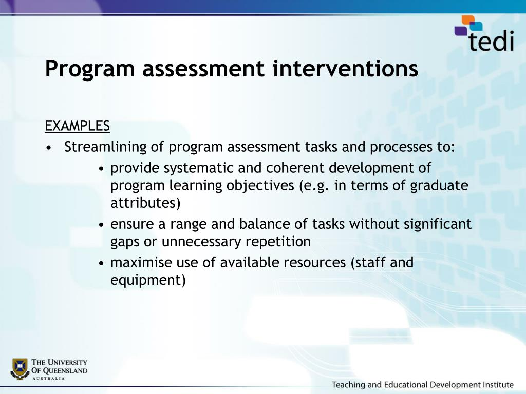 Program assessment interventions
