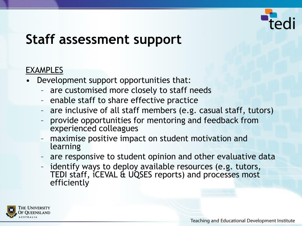 Staff assessment support