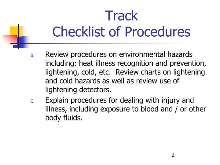 Track checklist of procedures2