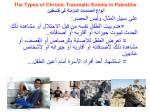 the types of chronic traumatic events in palestine