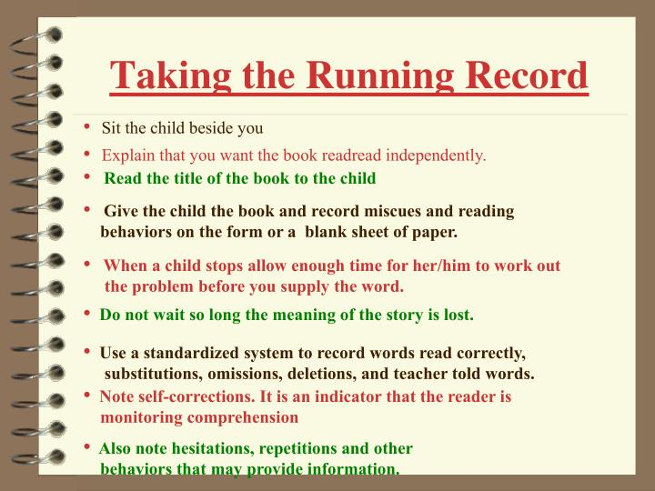 Taking the running record