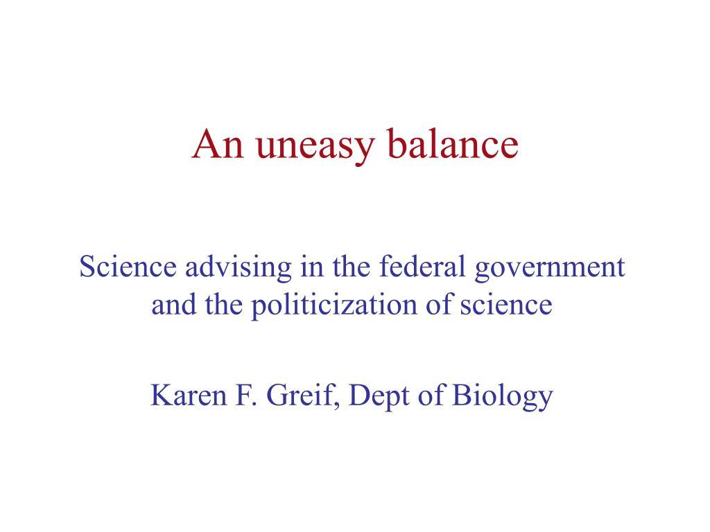 an uneasy balance l.