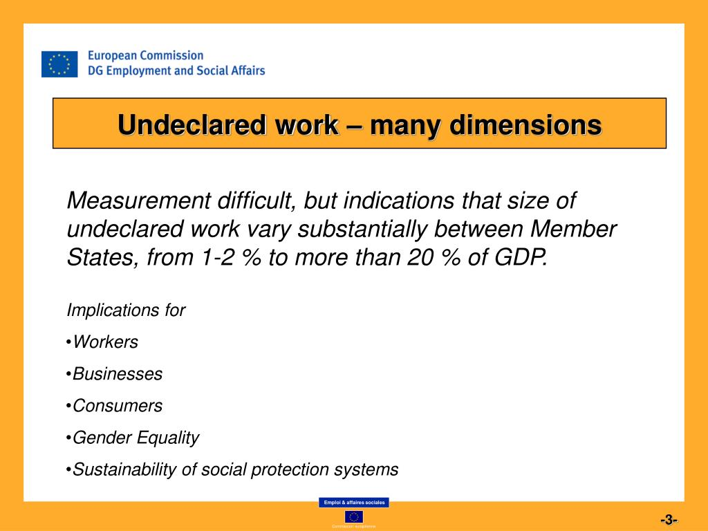 Undeclared work – many dimensions