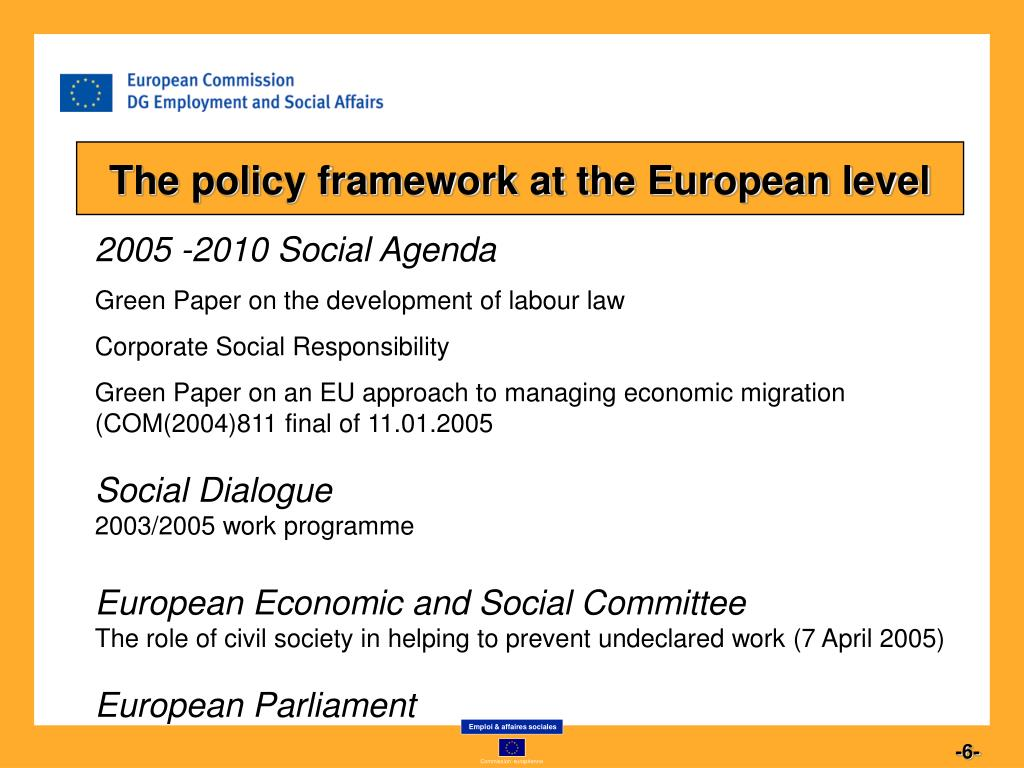 The policy framework at the European level