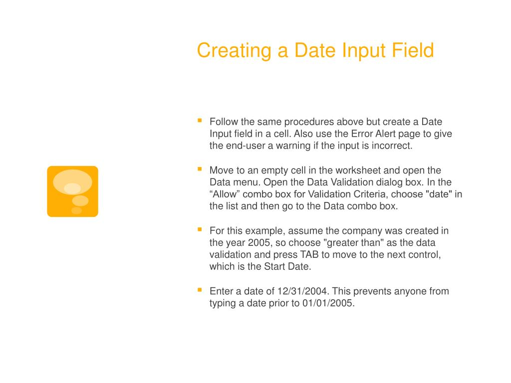 Creating a Date Input Field
