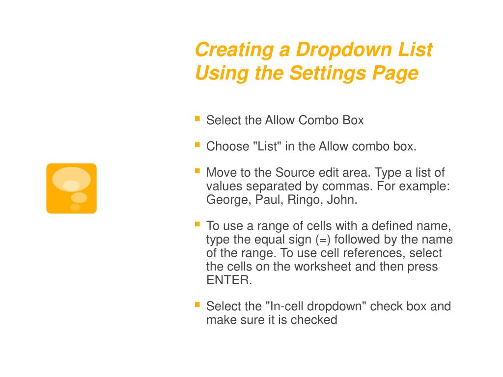 Creating a Dropdown List Using the Settings Page