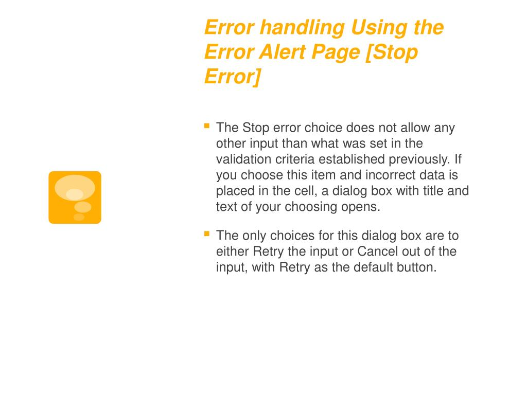 Error handling Using the Error Alert Page [Stop Error]